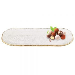 Badash Crystal Goldedge Collection Mouth Blown Textured Glass Oval Platter 18 x 6.5 inches - F3025