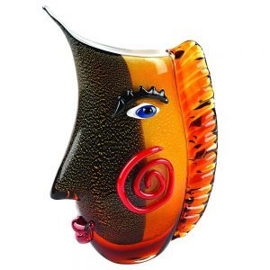 Badash Crystal Murano Style Glass Vase with a Face - J525
