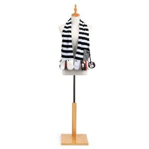 Black and white stripe activity scarf