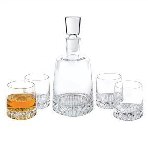 crystal decanter with 4 glasses